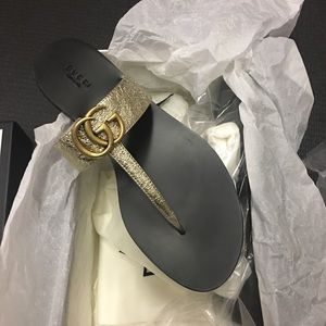 Gucci 'platino' (gold) marmont sandals NEW 40